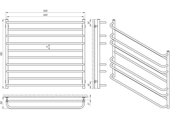 Схема - Полотенцесушитель Laris Практик П10 1000 х 900