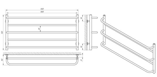 Схема - Рушникосушарка Laris Практік П5 1000 х 500