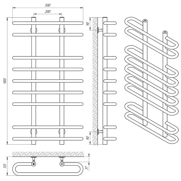 Схема - Полотенцесушитель Laris Сахара П9 500 х 900