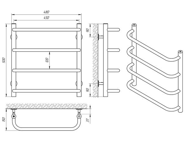 Схема - Полотенцесушитель Laris Стандарт П4 450 х 500