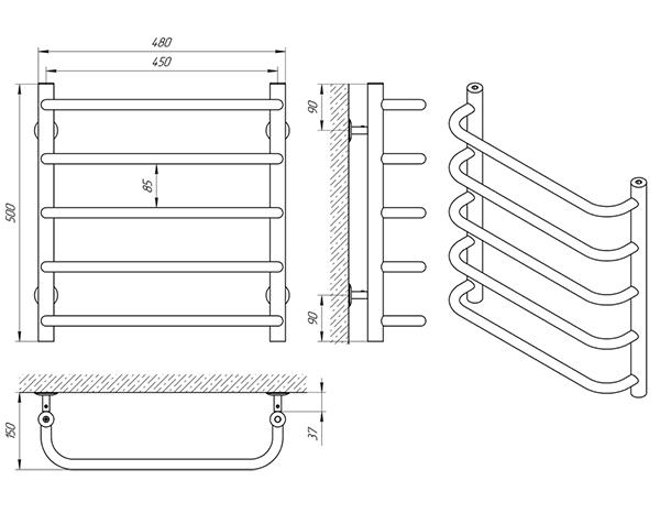 Схема - Рушникосушарка Laris Стандарт П5 450 х 500