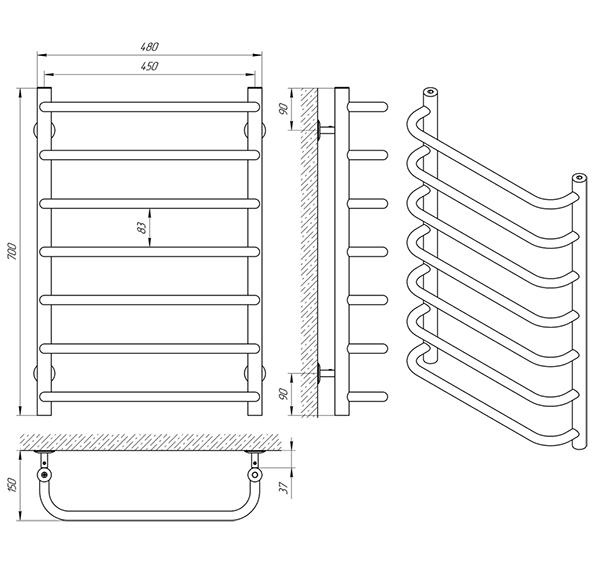 Схема - Полотенцесушитель Laris Стандарт П7 450 х 700