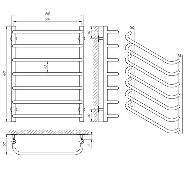 Схема - Рушникосушарка Laris Стандарт П7 500 х 700