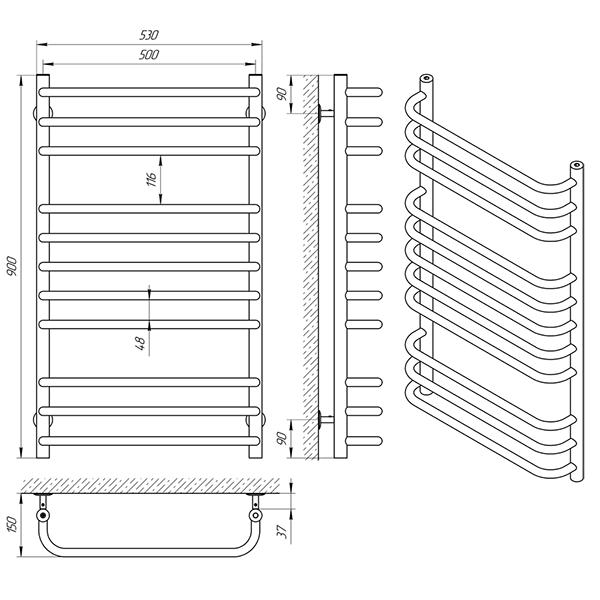Схема - Рушникосушарка Laris Стандарт П9 500 х 900
