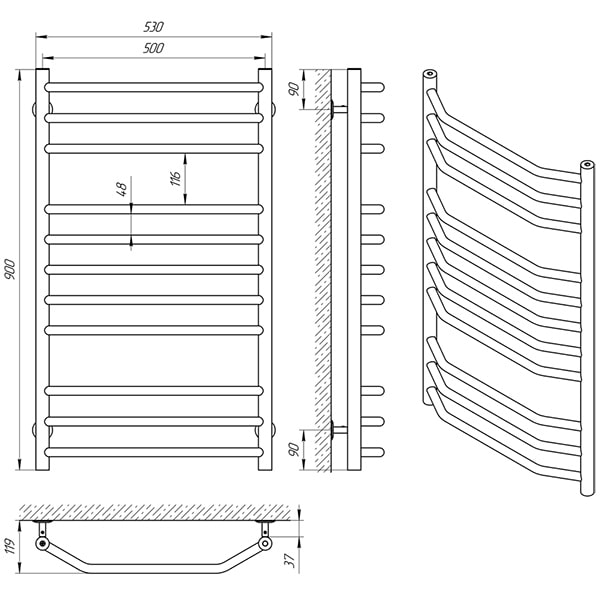 Схема - Полотенцесушитель Laris Виктория П11 500 х 900