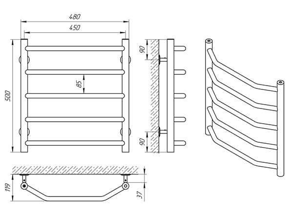 Схема - Полотенцесушитель Laris Виктория П5 450 х 500