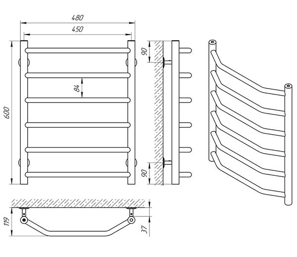 Схема - Полотенцесушитель Laris Виктория П6 450 х 600