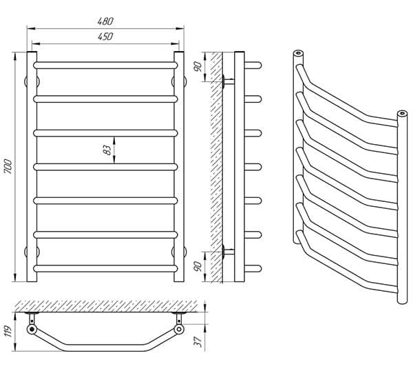 Схема - Полотенцесушитель Laris Виктория П7 450 х 700