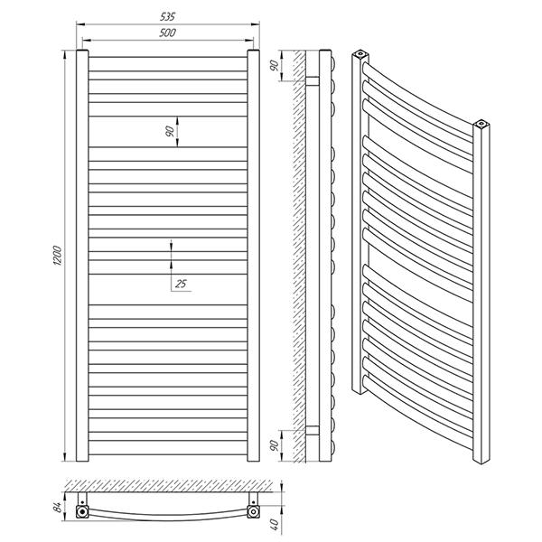 Схема - Полотенцесушитель Laris Атлант П16 500 х 1200