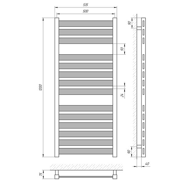 Схема - Рушникосушарка Laris Бонд П14 500 х 1200