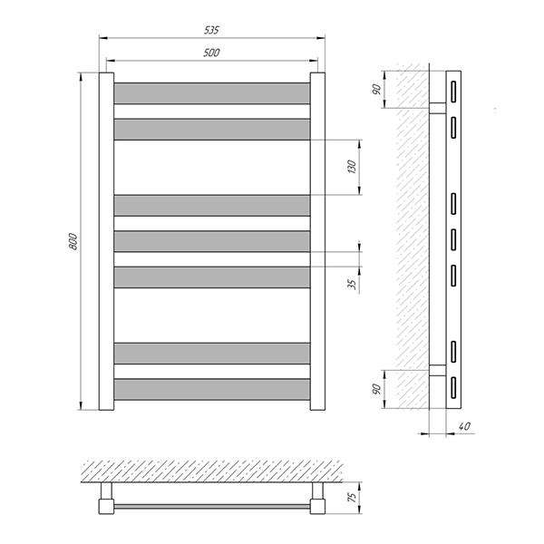 Схема - Полотенцесушитель Laris Бонд П7 500 х 800