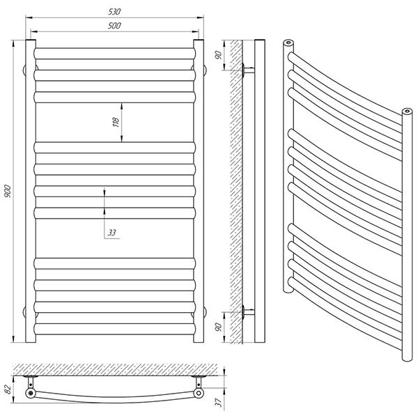 Схема - Рушникосушарка Laris Класік Преміум П11 500 х 900