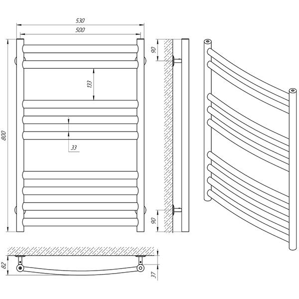Схема - Рушникосушарка Laris Класік Преміум П9 500 х 800