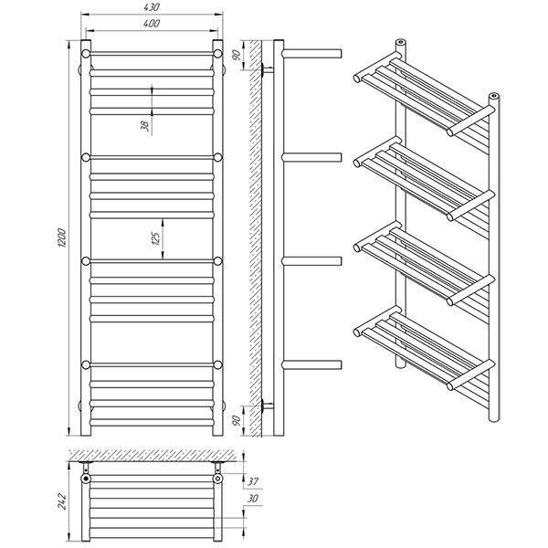 Схема - Рушникосушарка Laris Форум П16 400 х 1200 з 4-ма поличками