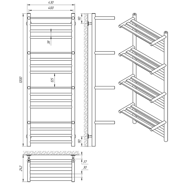 Схема - Полотенцесушитель Laris Форум П16 400 х 1200 с 4-мя полочками