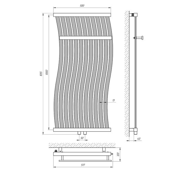 Схема - Полотенцесушитель Laris Фрирайд П11 500 х 1000