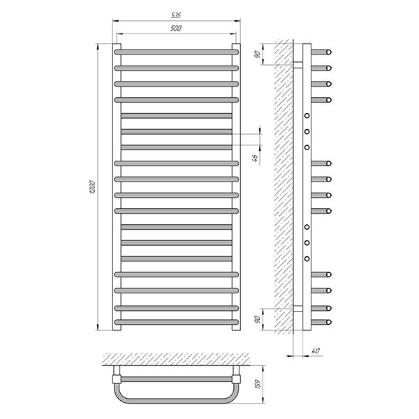 Схема - Полотенцесушитель Laris Гермес П18 500 х 1200