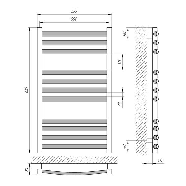 Схема - Полотенцесушитель Laris Гранд П11 500 х 900