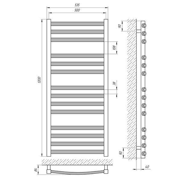 Схема - Полотенцесушитель Laris Гранд П14 500 х 1200