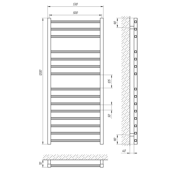 Схема - Полотенцесушитель Laris Имидж П15 500 х 1200