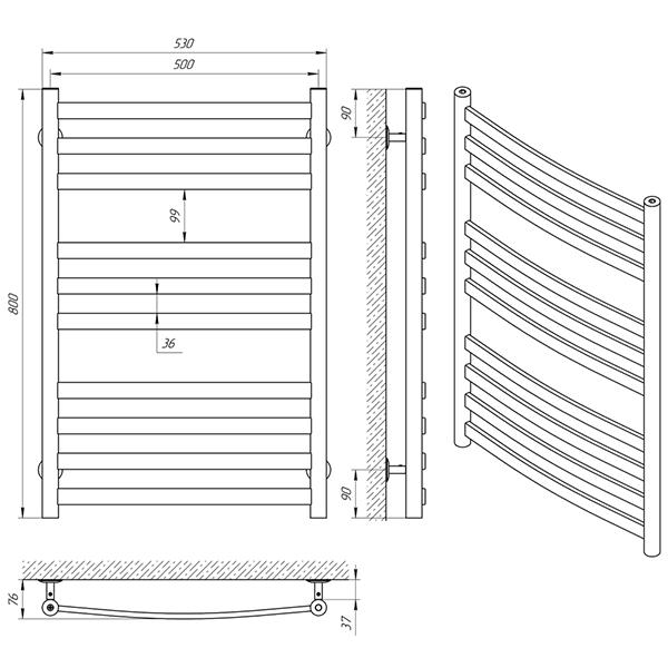 Схема - Полотенцесушитель Laris Кватро Классик П10 500 х 800