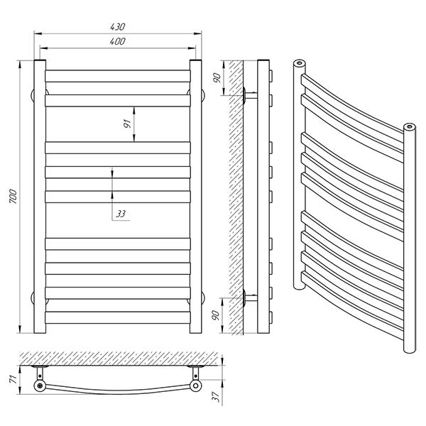 Схема - Полотенцесушитель Laris Кватро Классик П9 400 х 700
