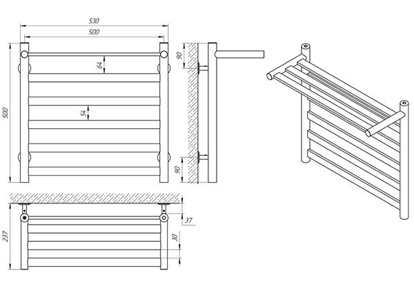 Схема - Полотенцесушитель Laris Кватро П6 500 х 500 с полкой