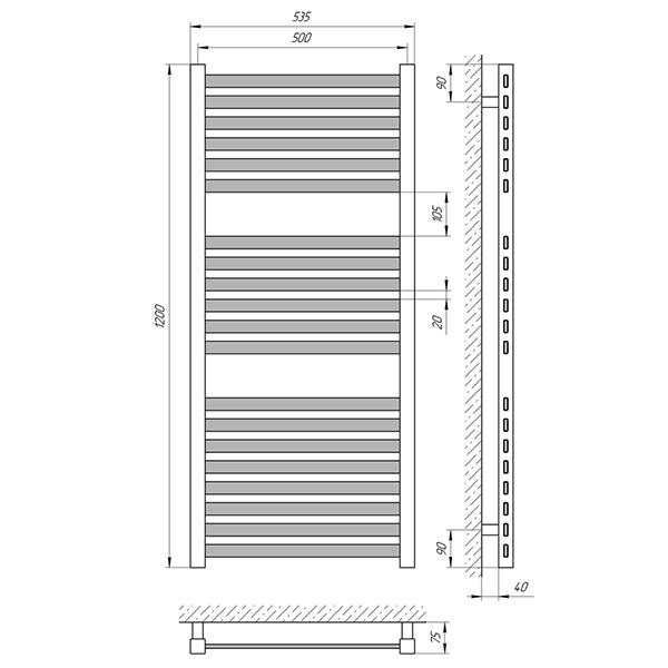 Схема - Полотенцесушитель Laris Солар П20 500 х 1200