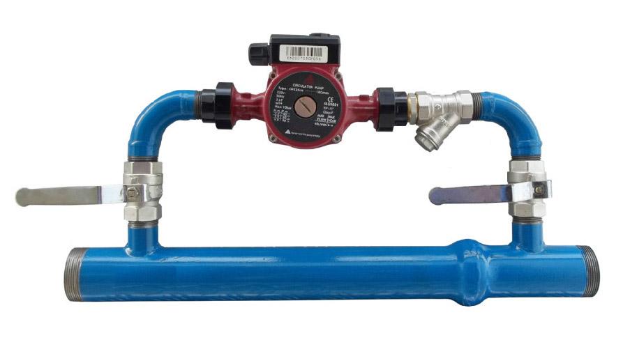 Байпас обратным клапаном, циркуляционным насосом и грязевым фильтром