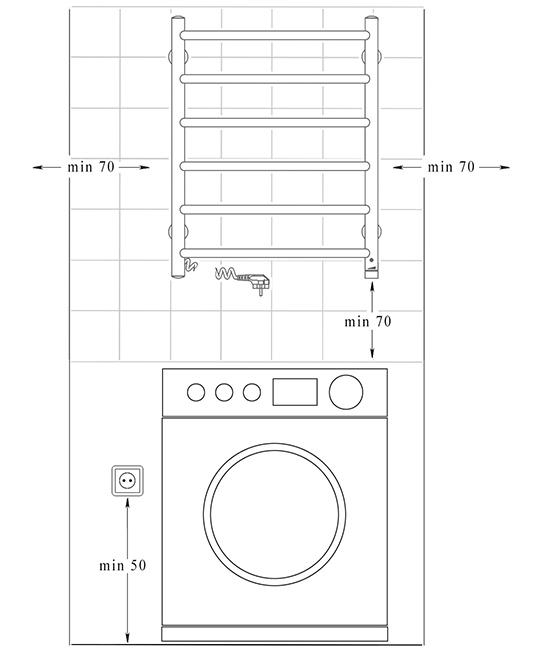 Схема монтажа - электрический полотенцесушитель