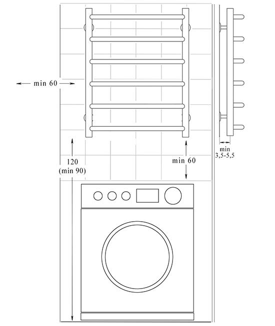 Схема монтажу - водяна рушникосушарка